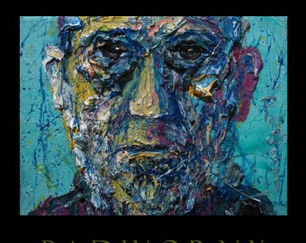 Sold - Oil Paint on Gallery Wrapped Stretched Canvas 16 by 12 by 3/4 in./ original oil painting modern beard shave man male guy portrait