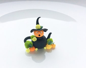 Miniature Halloween witch teapot hand made from polymer clay