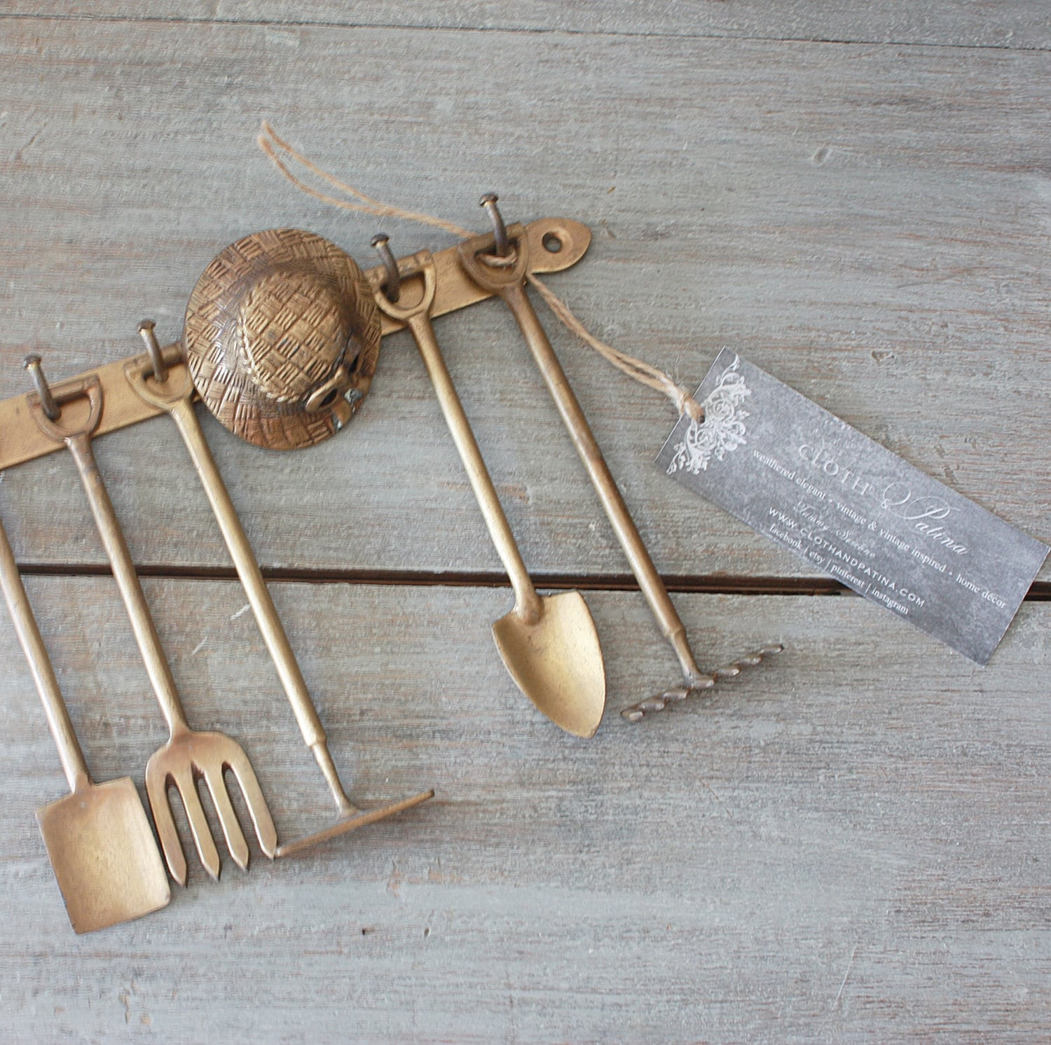 Vintage brass hanging garden tool set for Gardening tools vintage
