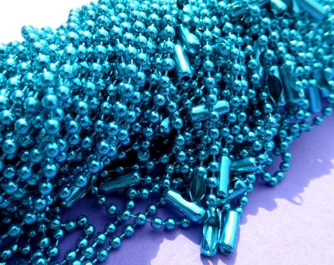 Turquoise Blue Ball Chain Necklaces - 24 inch - 2.4mm Diameter - Set of 10