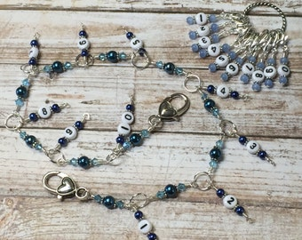 1-100 Chain Row Counter- Blue Beaded Number Stitch Markers- Gift for Knitters- Knitting Tools- Supplies