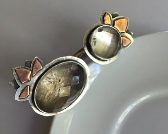 Handmade Double Quartz Sterling Silver Ring, with Copper Accents, size 8.5-9