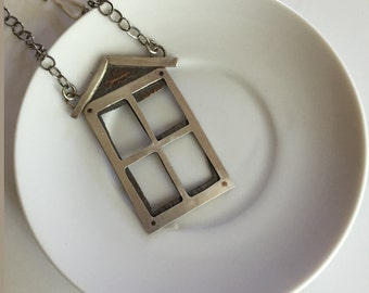 Handmade Sterling Silver & Riveted Copper House Necklace