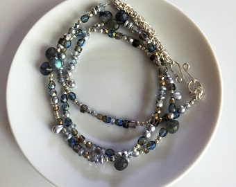 Handmade Czech Glass Beaded Necklace with Labradorite Onion Briolettes & Chainmaille