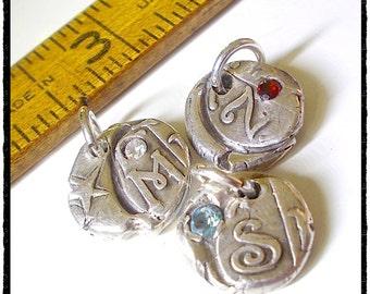 Petite Silver Wax Seal Initial Pendant Birthstone Gift