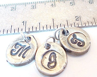 Wax Seal Jewelry, Silver Stamped Initials.  Sweet Petal Shape.  Great NEW Moms GIFT,  Grandchildren, Charm Bracelets, Jewellry