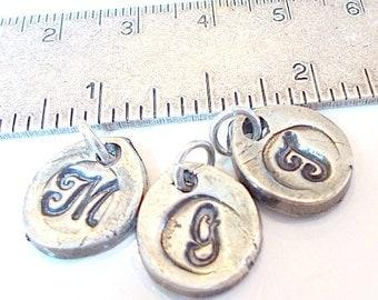Petite Add-On Wax Seal Silver Stamped Initials. Sweet Petal Shape.  Great NEW Moms GIFT  Grandchildren, Charm Bracelets