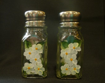 Hand Painted Salt and Pepper Shakers White Flowers Daisies Hydrangeas