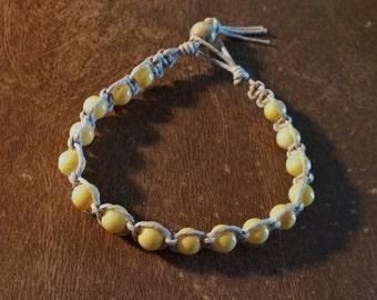Hemp Bracelet 16 Yellow Glass Beads 1 Cream Colored Wood Bead 7 1/2 Inches Handmade Natural Tan Hemp