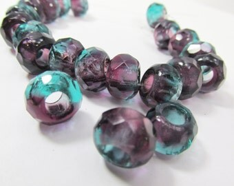 5 Czech Glass Large Hole Amethyst Forest Purple Plum and Green Turquoise Roller 8mm x 12mm Faceted Rondelle Jewelry Beads with 4mm holes