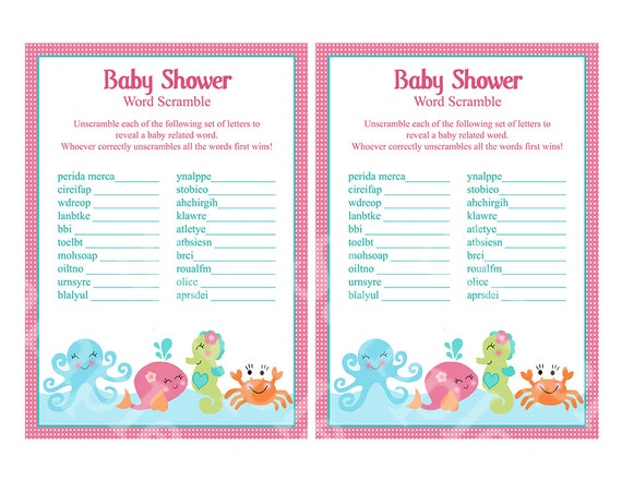 Under The Sea Ocean Baby Shower Word Scramble Game 5x7