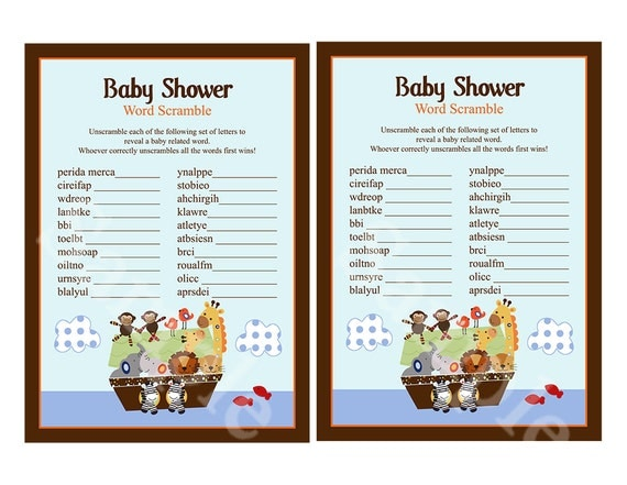 ... Animal Pairs Baby Shower Word Scramble Game 5x7 Printable/Digital File