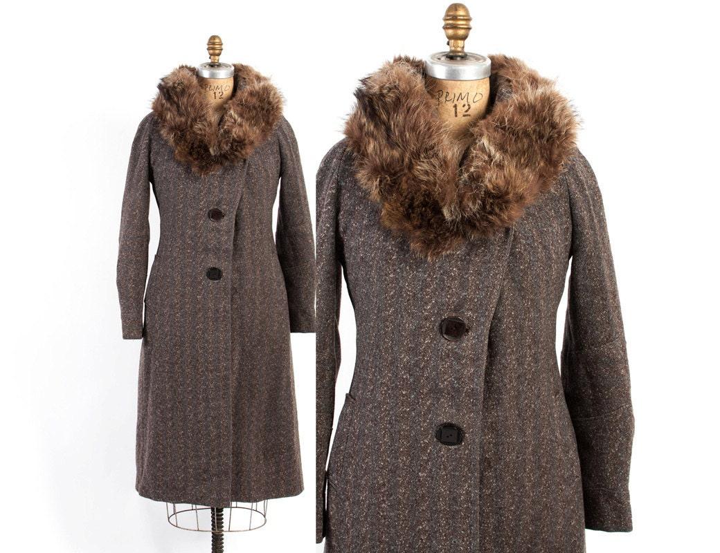 Vintage 30s Coat 1930s Brown Tweed Wool Deco Winter Coat