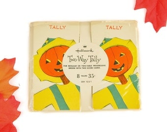 Vintage Halloween Hallmark Two-Way Tally Cards from 1952 with Jack-o-lantern Scarecrow Pumpkin Heads