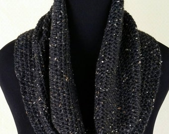 Infinity Crochet Scarf Midnight Black