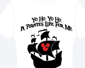 Disney Mickey pirate ship Heat transfer vinyl t-shirt adult/youth/toddler