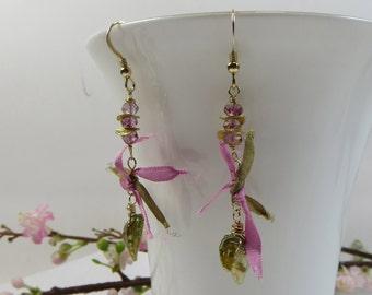 Charm Green Gold and Silk Earrings, Keishi Pearl Earrings w Pink Topaz, Vermeil & Silk, Olive Green Pearl Earrings w Silk Ribbon, Delicate
