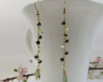 Sapphire Earrings, Pearls w Blue Sapphire & Green Amethyst Earrings,14kt Gold Fill Earrings, Green Amethyst Earrings, Prasiolite Earrings