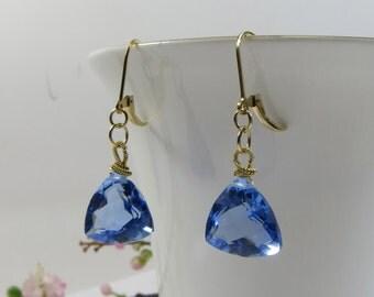 Blue Quartz Earrings, Faceted Trillion Cut Blue Quartz Earrngs w 14KT Goldfill GF Wirewrapped Leverback Earrings - Exquisite Blue Earrings
