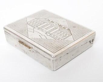 Rare antique aluminum cigarette case, holder from USSR, 1940
