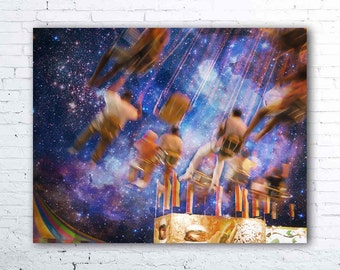 carnival print - ohio state fair photography - purple night sky wall art - carnival decor
