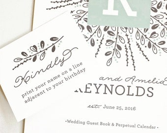 Wedding Guest Book Alternative, Personalized Wedding Guest Calendar, Perpetual Calendar, Large Size // BERRY AND BRANCH