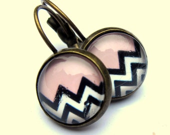 Pink Earrings Black And White Stripe Fashion Jewelry