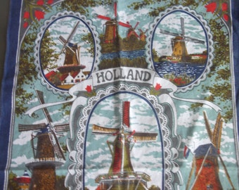 Souvenir Tea Dish Towel from Holland, Vintage Kitchen Linen, Windmills, Tulips, Sites Scenes from Holland, Travel Souvenir, Cotton Towel