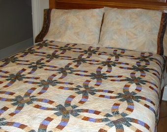 Batik Double Wedding Ring Quilt