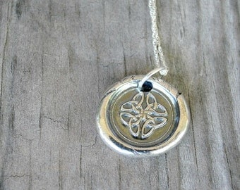 Celtic Knot Necklace - Fine Silver Celtic Necklace  - Wax Seal Necklace