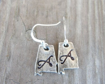 State Earrings -  Alabama State Earrings -State of Alabama Earrings - State Jewelry
