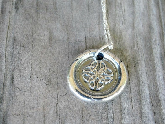 Celtic Knot Necklace - Fine Silver Celtic Necklace  - Wax Seal Necklace