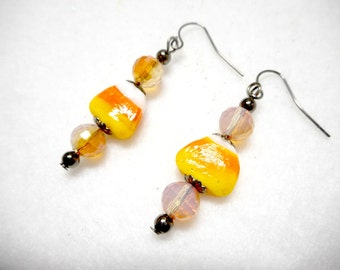 Halloween Earrings, Candy Corn Earrings, Halloween Candy Jewelry, Trick-or-Treat Earrings