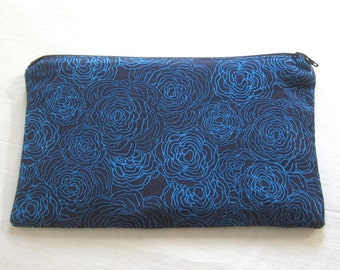 Blue Flowers on Black Fabric  Zipper Pouch / Pencil Case / Make Up Bag / Gadget Pouch