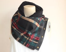 Black Plaid  Scarf -Unisex  Scarf- Black Red Emerald Camel Scarf -Winter Fashion-Fleece Cowl-Neckwarmer with Leather and Metalic Snaps
