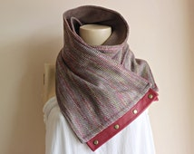 Multicolor Winter Infinity Scarf - Woman Fashion-Fleece Cowl-Latte Neckwarmer with Leather and Metalic Snaps