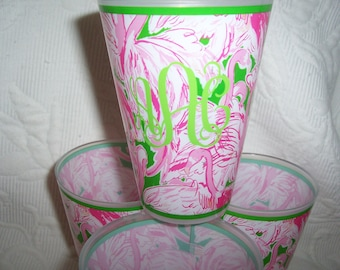 SALE! Lilly Pulitzer FIRST COLONY Monogrammed Tumbler Set of 4 Gift Wrapped