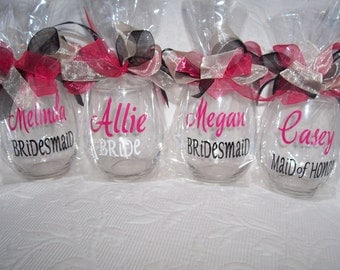 Personalized Wine Glass, Bridesmaid, Bride-to-be, Bridal Party Wine Glasses