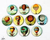 20% off - 10pcs Different 25mm 30mm Rounds Handmade Wooden Vintage hot air balloon Collection Charms / Pendants (WN-E)