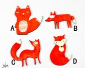 4Pcs Handmade Wooden Red Fox Collection Charms / Pendants (WO-E)