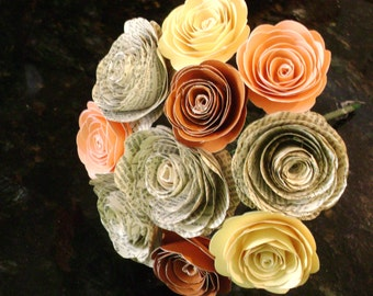 fall autumn spiral paper rose bouquet recycled book page toss centerpiece bridal bridesmaid alternative
