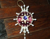 Christmas Ornament Burgundy Satin Ball Crystals Pearls Blue Gems Jewels Dresden Medallion Gold Trim Ornate Victorian Handmade
