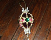 Burgundy Christmas Ornament Satin Ball Crystals Pearls Green Gems Jewels Dresden Medallion Gold Trim Ornate Victorian Handmade