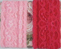 Stretch Lingerie Lace Hot Pink and Pastel Pink Over 4 Yards