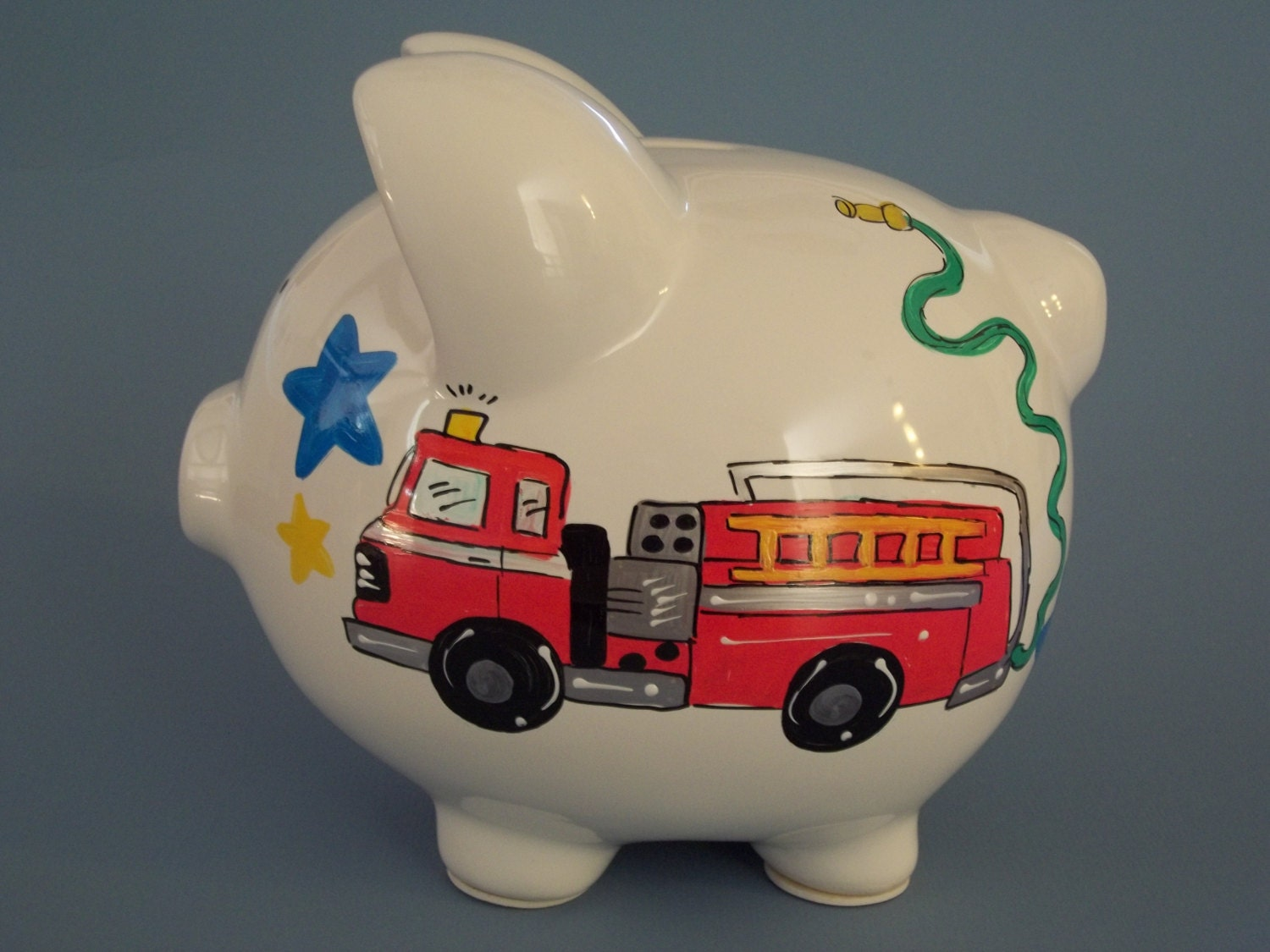 fire truck and police car hand painted personalized piggy bank. Black Bedroom Furniture Sets. Home Design Ideas