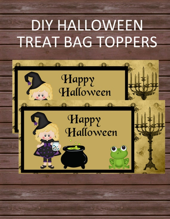 DIY Halloween Treat Bag Toppers, Instant Download, Happy Halloween Witch Treat Bag Topper