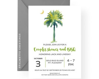 South Carolina Palmetto Moon Party Invitation, Couples Shower, BBQ, Tailgate, Wedding, Bridal Shower, Engagement Party by Palmetto Greetings