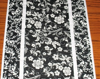 Floral Table Runner Black and White
