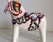 Vintage Ceramic Dala Horse White Hand Painted Scandia