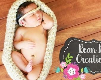 Ivory Baby Basket, Gender Neutral Baby Pod, Crochet Basket Filler, Newborn Photo Props